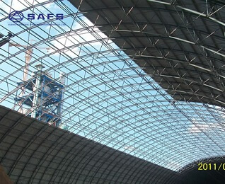 Large Span Design Space Frame Steel Structural Arch Roof Design Coal Storage Shed