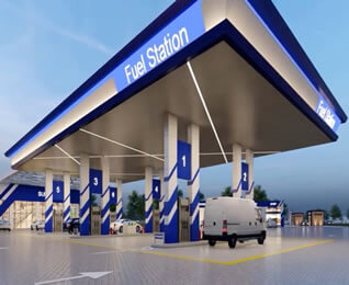 Easy Installation Steel Space Frame Petrol Station Canopy