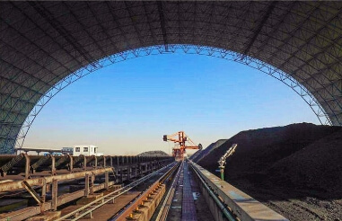 What are the characteristics of the dry coal storge space frame structure